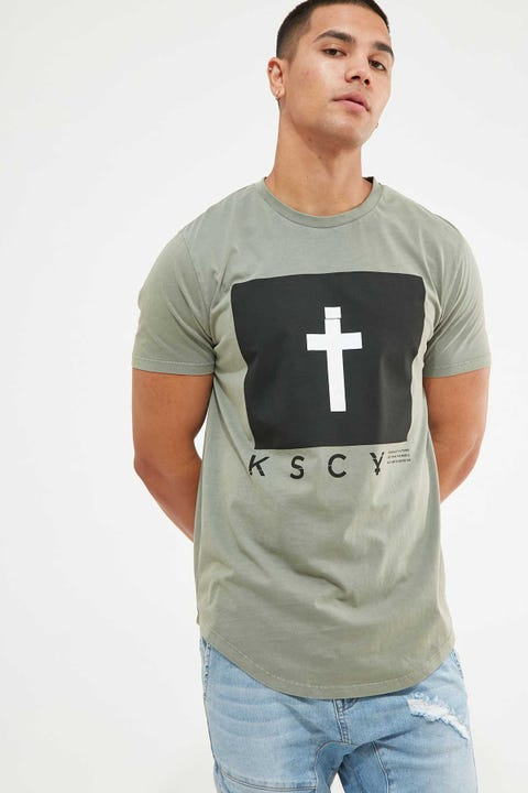 KISS CHACEY Reprise Dual Curved Tee Pigment Khaki