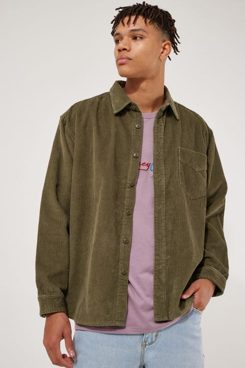 Barney Cools Cabin Cord LS Shirt Sage Cord