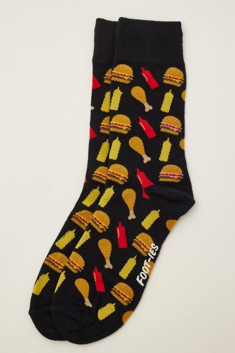 Footies Fast Food Sock Black