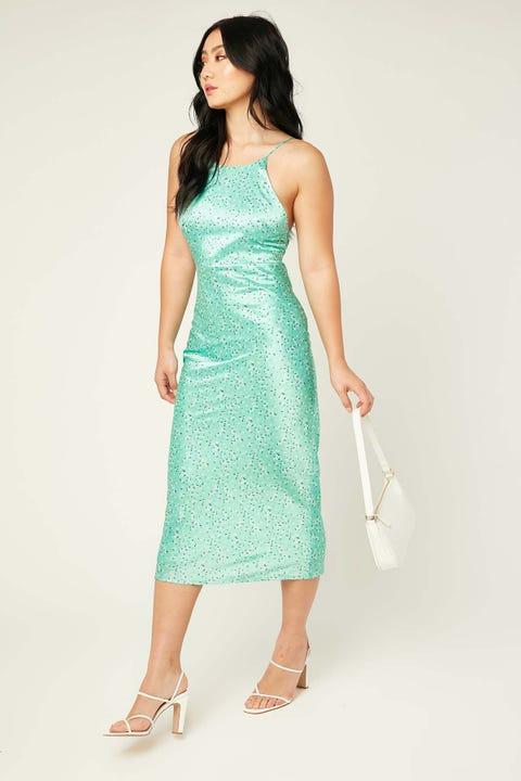 Perfect Stranger Little Dreamer Midi Dress Green Floral