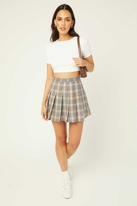 LUCK & TROUBLE Schools Out Mini Skirt Grey Check