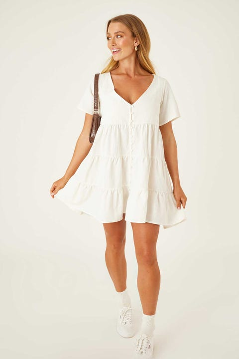 Luck & Trouble Smock Dress White