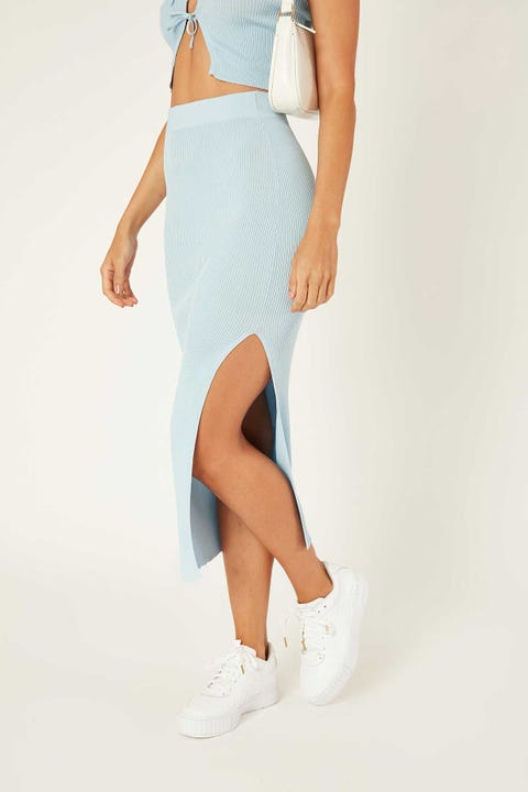 PERFECT STRANGER Euphoria Midi Skirt Icy Blue
