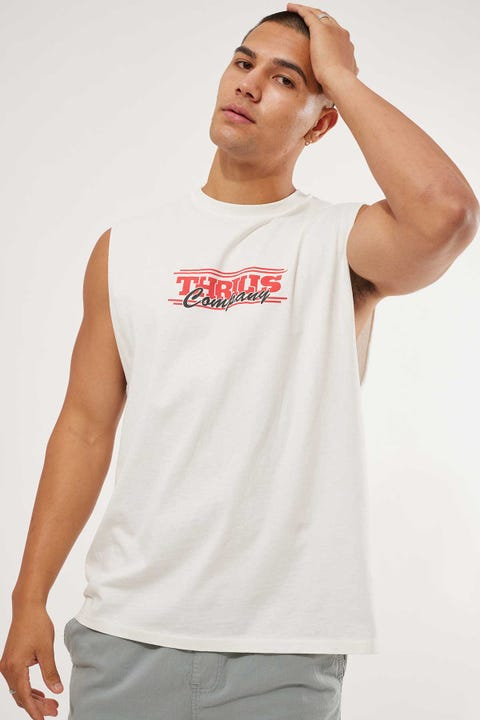 Thrills Bitten Merch Fit Muscle Tee Vintage White