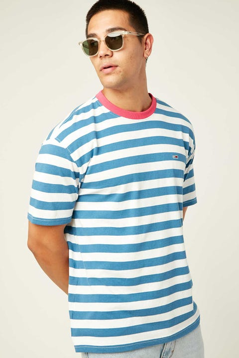 TOMMY JEANS TJM Colour Stripe Neck Tee Federal Blue / Multi