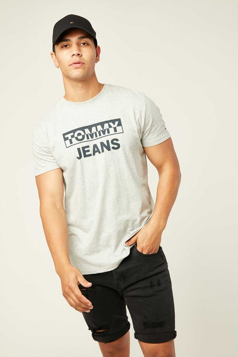 TOMMY JEANS TJM Split Block Logo Tee Light Grey Heather