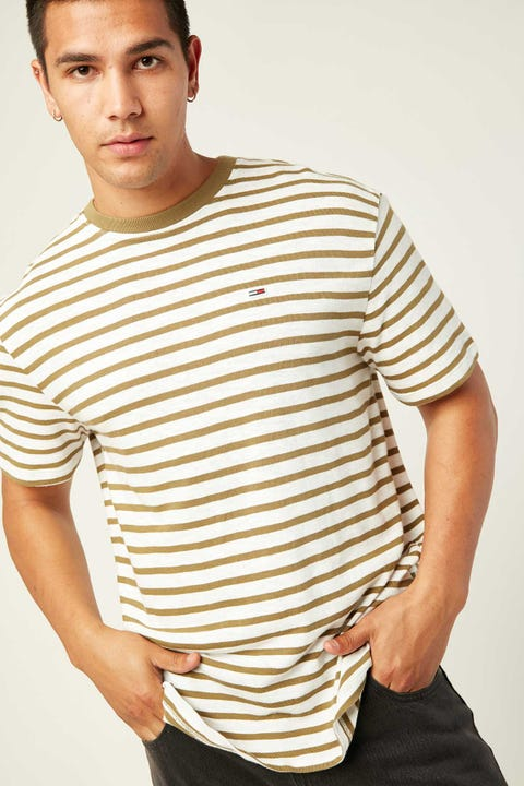 TOMMY JEANS TJM Tommy Stripe Tee Uniform Olive/White
