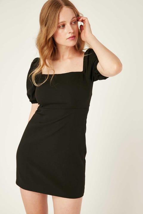 PERFECT STRANGER Tasha Lace Up Back Mini Dress Black