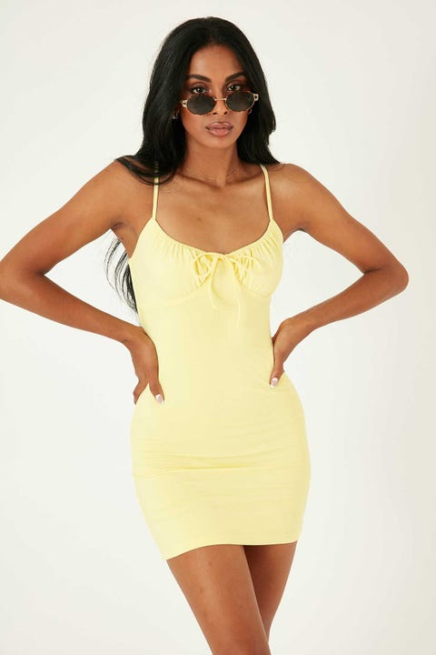 Luck & Trouble Cool Girl Mini Dress Butter Yellow