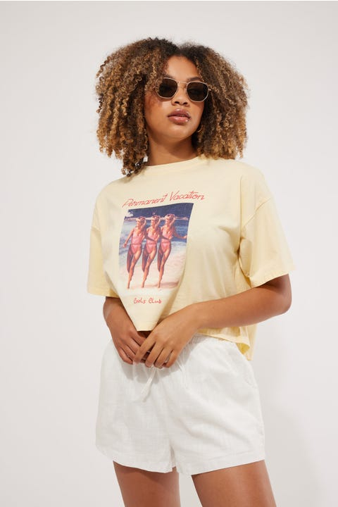 Cools Club Permanent Vacation Crop Tee Lemon