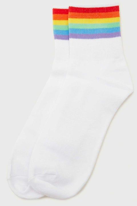 Token Rainbow Stripe Sock White