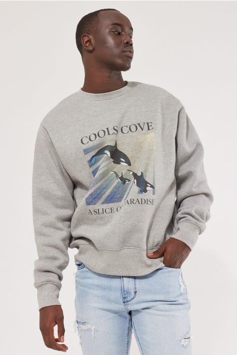 Barney Cools Orca Crew Sweatshirt Grey Melange