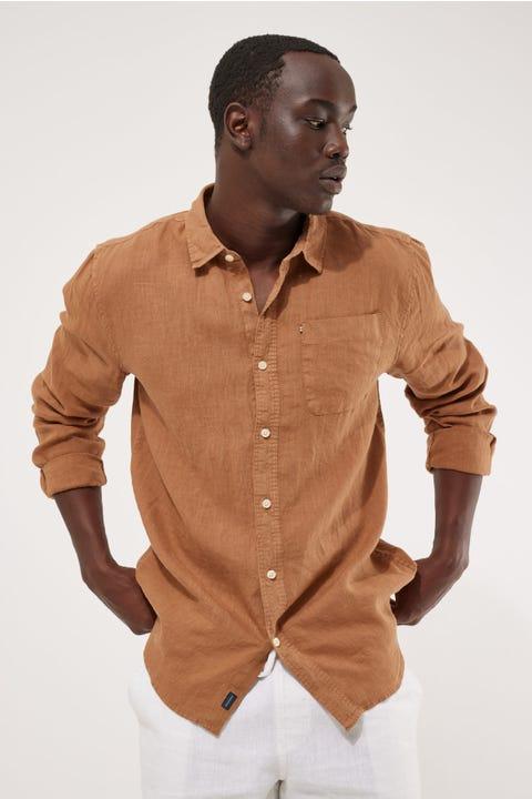 Academy Brand Hampton Linen LS Shirt Cognac