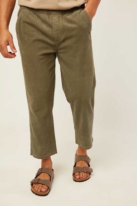 Common Need Barrel Cord Pant Washed Olive