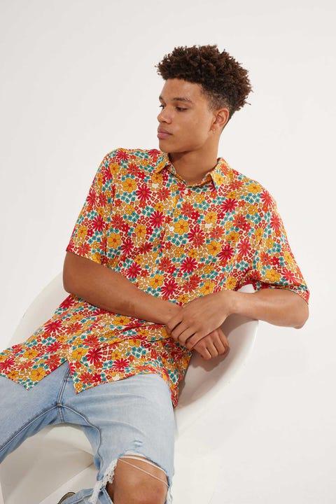 Common Need Flower Power Shirt Off White/Orange/Teal