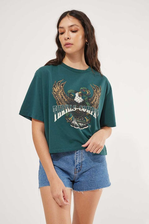 Thrills Retribution Merch Crop Tee Washed Teal