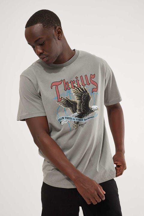 Thrills Storm The Castle Merch Fit Tee Washed Grey