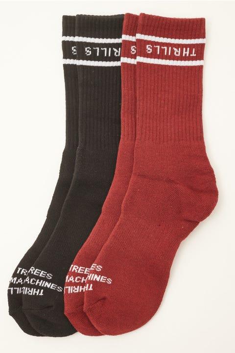 Thrills Minimal Socks 2 Pack Heritage Black/Blood Red