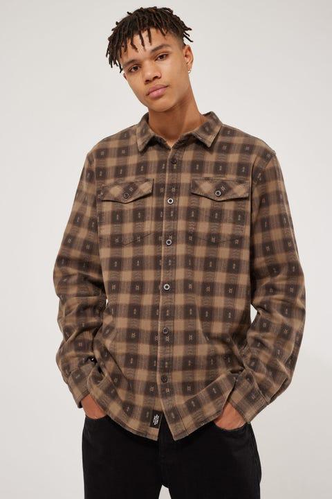 Thrills Liste Flannel Long Sleeve Shirt Desert