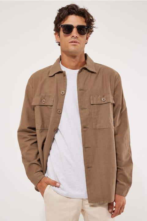 Thrills Liste Oversize Long Sleeve Shirt Desert