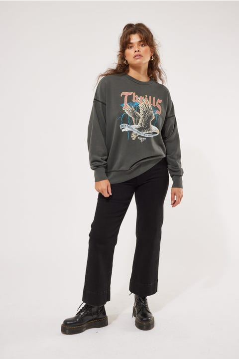 Thrills Storm The Castle Slouch Crew Merch Black