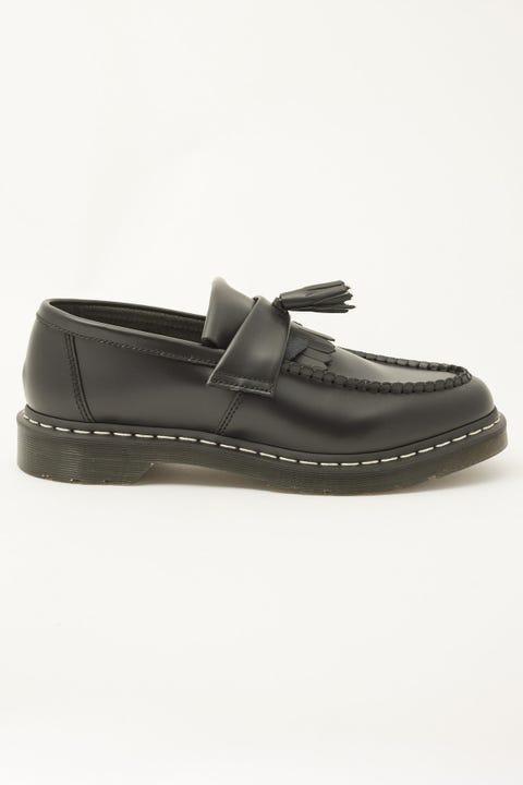 Dr Martens Mens Adrian White Stitch Tassel Loafer Black Smooth
