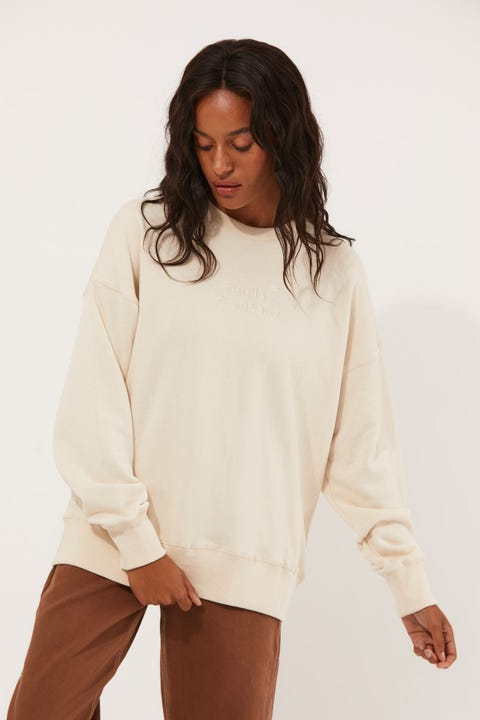 Thrills Tonal Stacked Slouch Crew Unbleached