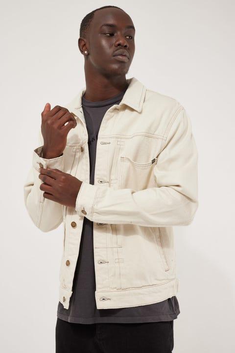 Thrills Ryder Oversized Denim Jacket Vintage Bone