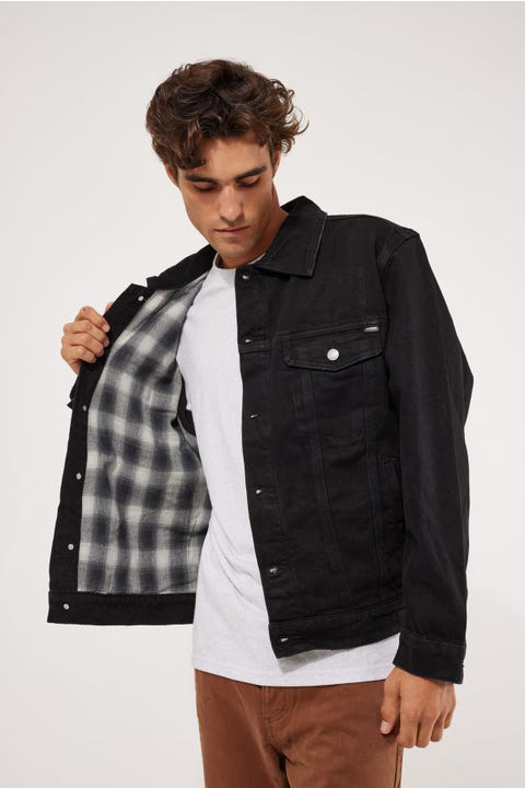 Thrills Oversized Wanderer Denim Jacket Black