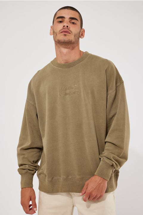 Thrills Tonal Stacked Thrills Company Slouch Fit Crew Desert