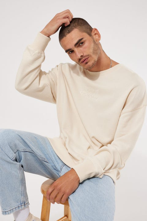 Thrills Tonal Stacked Thrills Company Slouch Fit Crew Unbleached