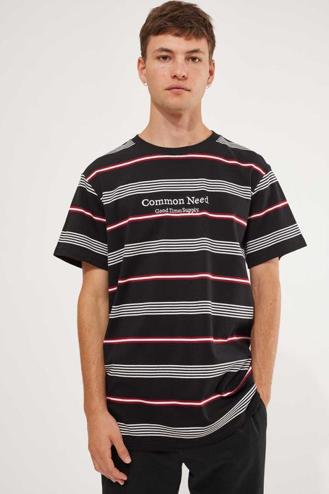 Common Need Dash Stripe Tee Black/White/Red