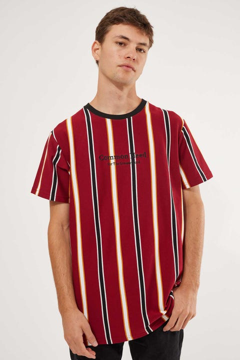 Common Need Rocco Vertical Stripe Tee Burgundy/Black/Orange