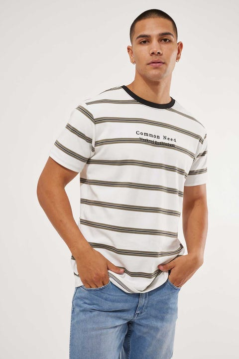Common Need Limits Stripe Tee White/Olive/Black