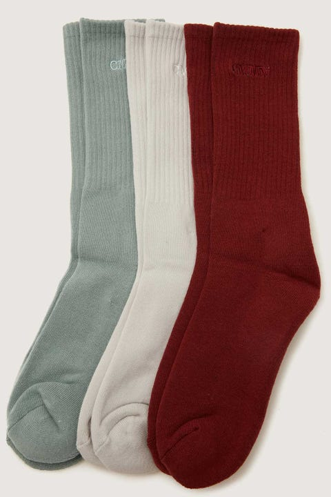 Common Need Pilot Sock 3 Pack Red/Grey/Blue