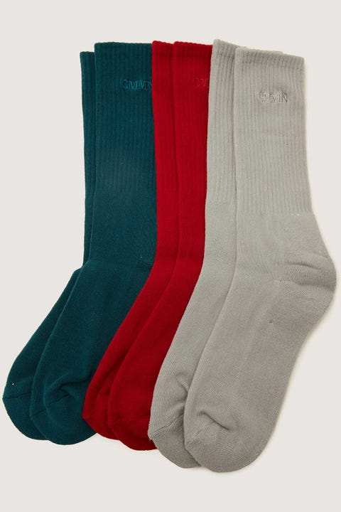 Common Need Pilot Sock 3 Pack Teal/Sage/Cherry