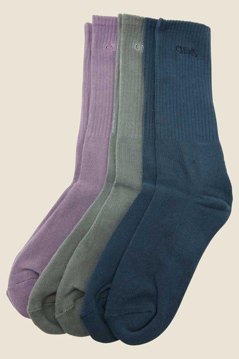 Common Need Pilot Sock 3 Pack Purple/Blue/Green