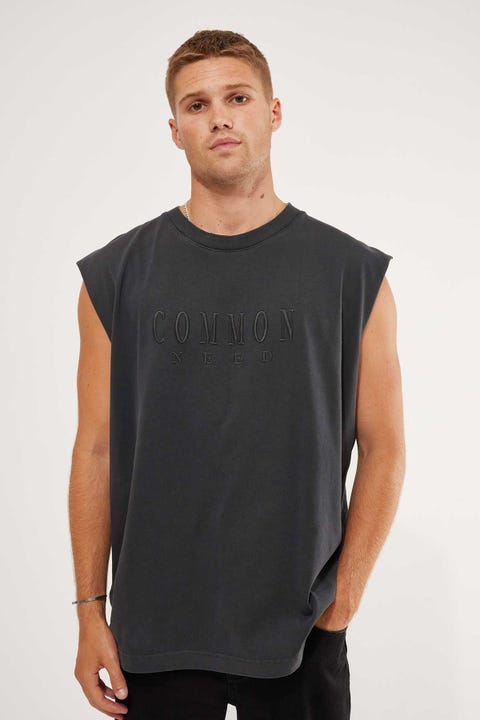 Common Need Cut Off Muscle Tank Vintage Black