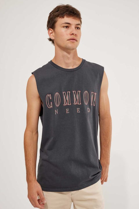 Common Need Academic Muscle Tank Washed Black