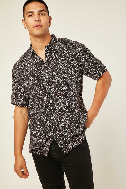 Barney Cools Holiday Black Ditzy SS Shirt Black Ditzy