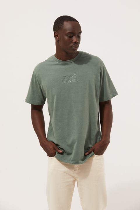 Thrills Tonal Stacked Thrills Company Merch Fit Tee Lume Green