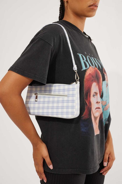 Token 90's Shoulder Handbag White Check