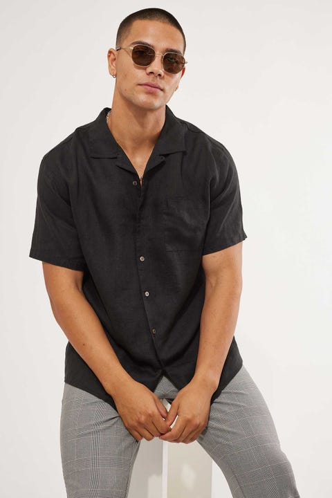 Common Need Linen Resort Collar Shirt Black
