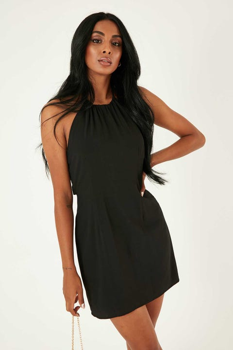 PERFECT STRANGER Halter Neck Mini Dress Black