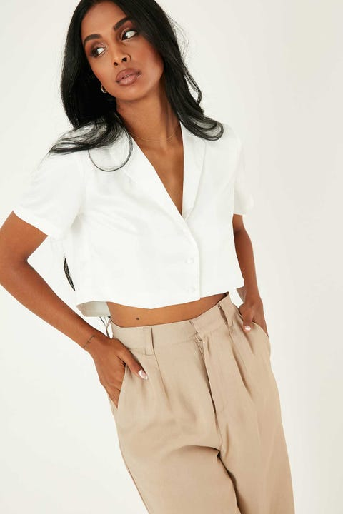 Perfect Stranger Crop Satin Shirt White