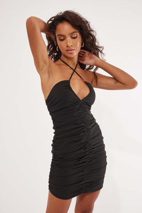 Perfect Stranger Don't Care Rouched Mini Dress Black