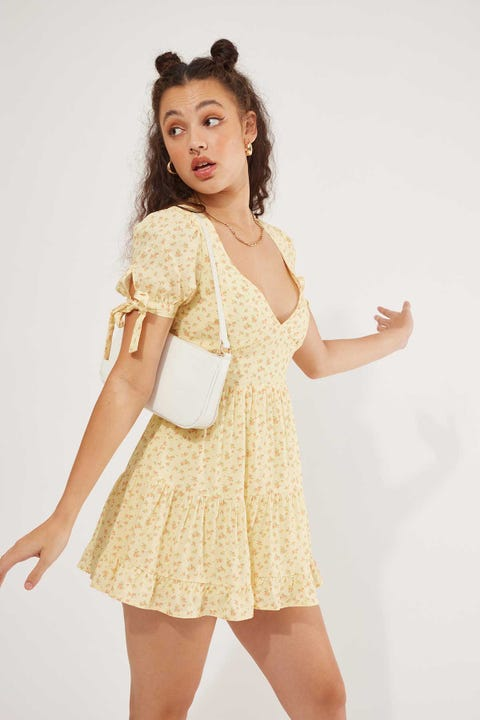 Luck & Trouble Gold Dust Floral Dress Yellow
