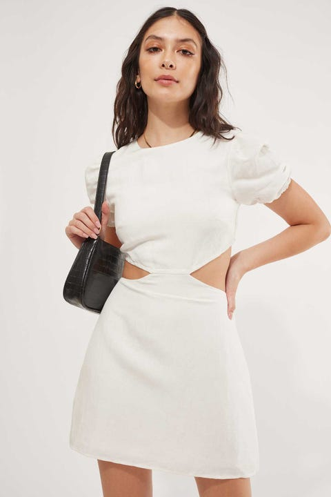 Perfect Stranger Cut Out Linen Mini Dress White