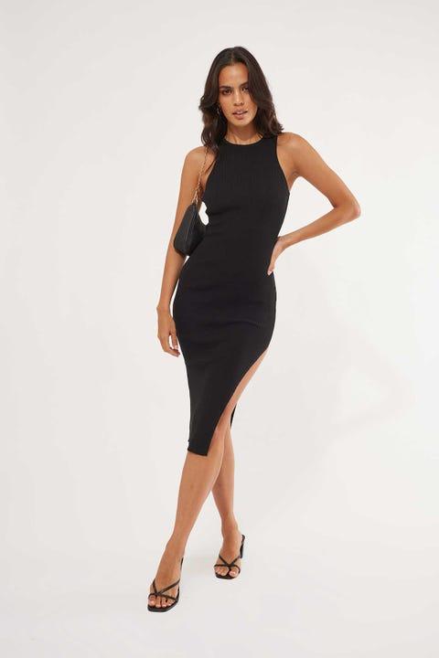 Luck & Trouble Good Times Knit Midi Dress Black