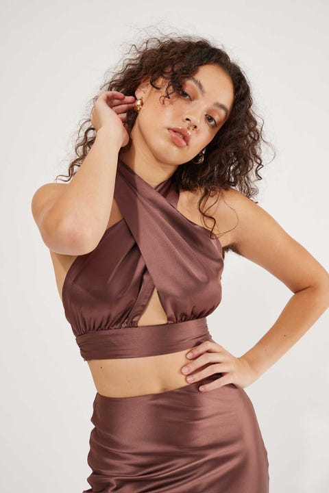 Perfect Stranger Midnight Satin Wrap Top Brown
